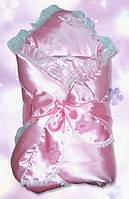 Конверт-одеяло для новорожденных розовый, атлас