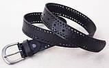 Черный женский кожаный ремень с перфорацией, фото 4