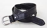 Черный женский кожаный ремень с перфорацией, фото 5