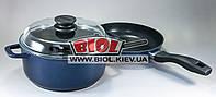 """Набор антипригарной посуды (кастрюля 3л, сковорода 22см, крышка стеклянная 22см) БИОЛ """"Индиго"""" И22ПС"""