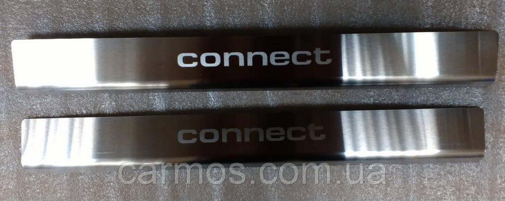 Накладки на пороги Ford Connect (форд коннект), 2 шт. нерж.