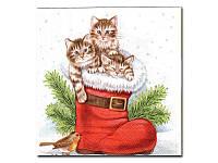 Салфетка для декупажа  Eventa —  Котята в сапожке, 33x33 см