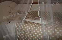 """Детское постельное белье в кроватку """"Вышивка Бегемотик""""- 8ед. без балдахина, фото 1"""