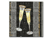 Салфетка для декупажа  Katrrin - Бокалы с шампанским черный, 33x33 см