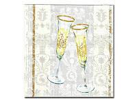Салфетка для декупажа  Katrrin - Бокалы с шампанским белый, 33x33 см