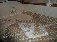 """Детское постельное белье в кроватку """"Вышивка Бегемотик""""- 9 предметов, фото 1"""