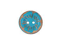 Деревянная пуговица круглая — Бирюзовый цветок, 25 мм, 1 шт