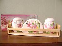 Набор керамический для специй с салфетницей