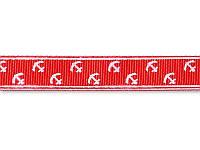 Репсовая лента - Якоря, цвет красный, ширина 16 мм,  1 метр