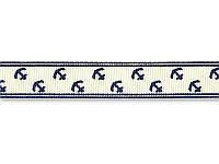 Репсовая лента - Якоря, цвет кремовый, ширина 16 мм,  1 метр
