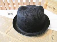 Модная женская соломенная шляпка с ушками черная