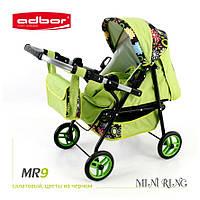 3011 Кукольная коляска-трансформер 2в1 с переноской Adbor Mini Ring (MR9, салатовый, цветы на черном)