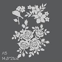 Маска Katrin-craft — Розы плетистые и гибискус, 14,8x21 см