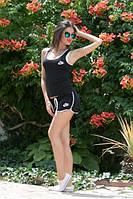 Костюм женский Молодёжный Nike с шортиками ткань х/б цвет чёрный