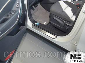Накладки на пороги Hyundai santa fe (хендай санта фе) 2006-2012, Premium, нерж.