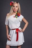 Красивое нежное летнее женское платье из натуральной вышитой ткани