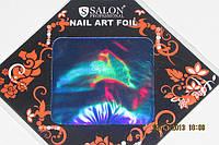 Фольга для литья и  дизайна ногтей в листе . Синий металлик голография