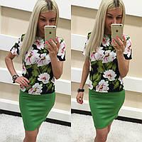 Костюм женский юбка и шифоновая блуза с цветами