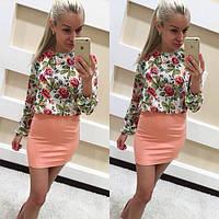 Платье-костюм на лето из дайвинга и шифона - Персиковый