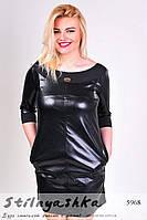 Женское платье большого размера из эко-кожи черное