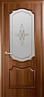 Двери Фортис Вензель DeLuxe витраж, цвет каштан,золотая ольха,венге,ясень