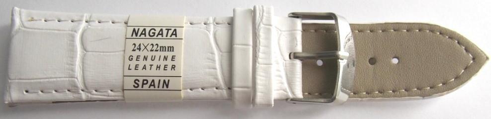 Ремешок кожаный NAGATA (ИСПАНИЯ) 24 мм, белый