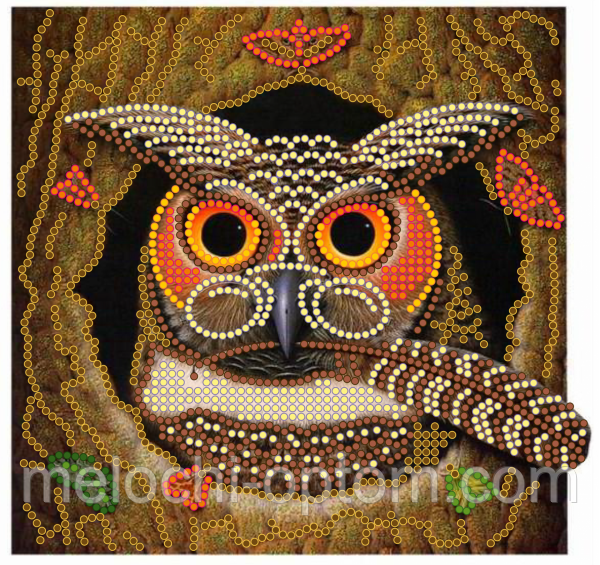 Схема для вышивки бисером POINT ART Совушка, размер 15х15 см