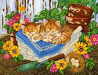 Схема для вышивки бисером POINT ART Спящие котики, размер 30х23 см
