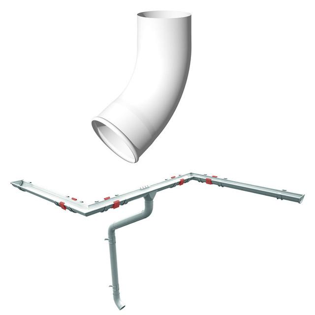 Отвод, колено трубы 60 градусов Ruukki 125 мм, элементы Металлического водостока Ruukki