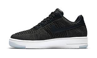 Кроссовки Nike Air Force Flyknit Low Black черного цвета