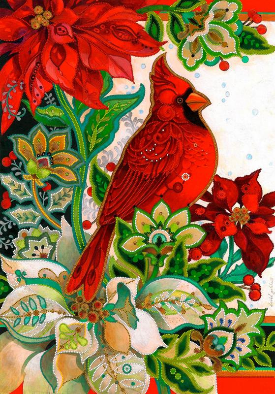 Схема для вышивки бисером POINT ART Красная птица, размер 35х50 см