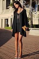Блузка туника женская шифоновая Черная