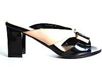 Сабо женские BeBeToni бежевый+черный на каблуке 39