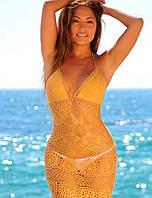 Золотая вязаная крючком пляжная туника с ажурными принтами