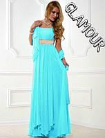 Вечернее платье Многослойное длинное шифоновое
