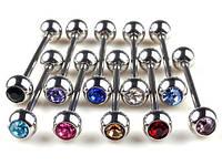 Штанги для украшения пирсинга языка из медицинской стали, с одним кристаллом.