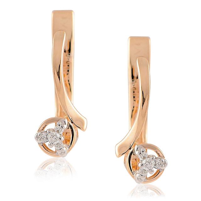Серьги с бриллиантами из белого и красного золота