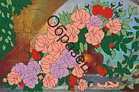 Схема для вышивки лентами «Букет роз в вазе»