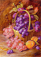 Схема для вышивки бисером POINT ART Розовый виноград, размер 19х26 см