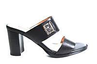 Сабо женские Mario Moro черные натуральная кожа на каблуке