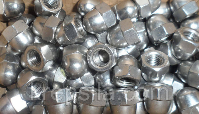 Гайки колпачковые из нержавеющих сталей А2 и А4 ГОСТ 11860-85, DIN 1587   Фотографии принадлежат предприятию Крепсила