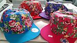Кепка для девочек Хип-хоп  цветы 56-58 см, фото 2
