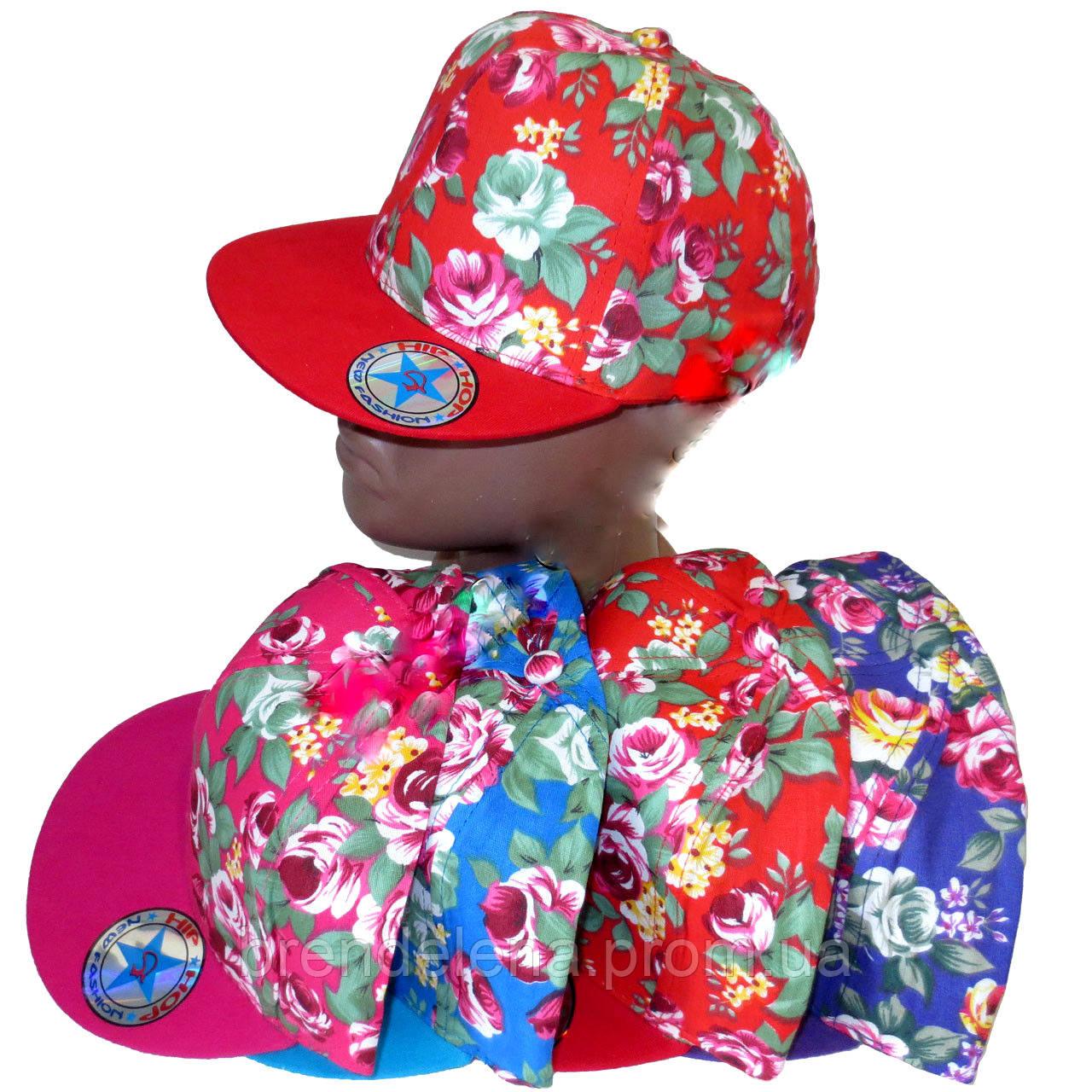Кепка для девочек Хип-хоп  цветы 56-58 см