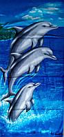 Пляжное полотенце Три дельфина