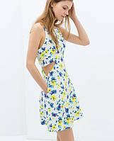 Стильное женское летнее короткое платье ZARA с вырезами и цветочным принтом 2016