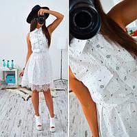 Платье короткое c кружевом и рубашечным воротником белое SMs321