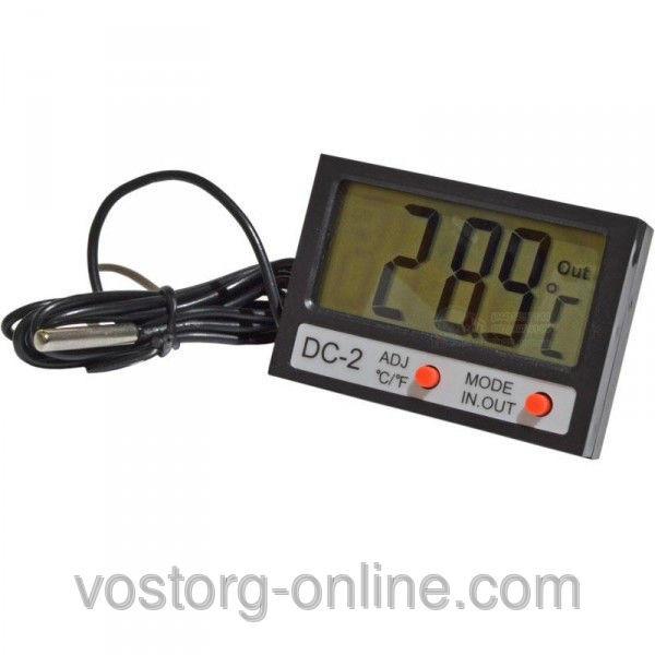 Термометр, электронный термометр DC-2, Цельсий и Фаренгейт, два датчика измерения, +часы