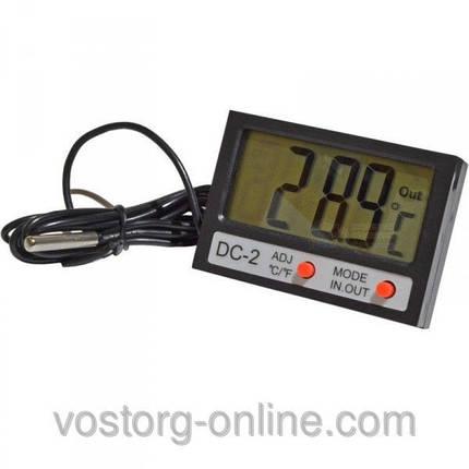 Термометр, электронный термометр DC-2, Цельсий и Фаренгейт, два датчика измерения, +часы, фото 2