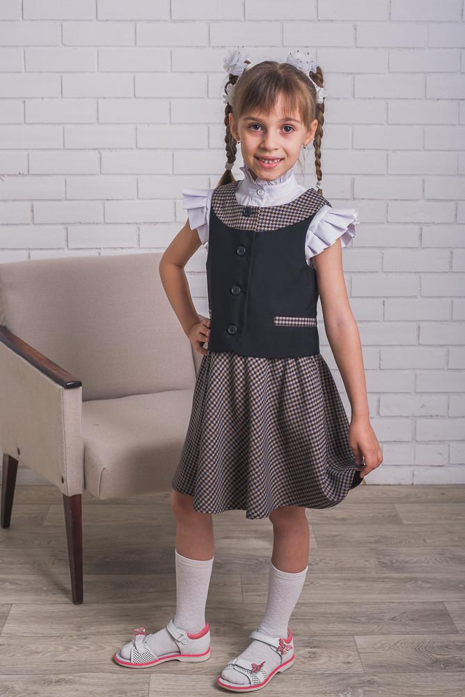 79e3bf6e7209 Стильная школьная форма для девочки юбка+жилет - Интернет-магазин