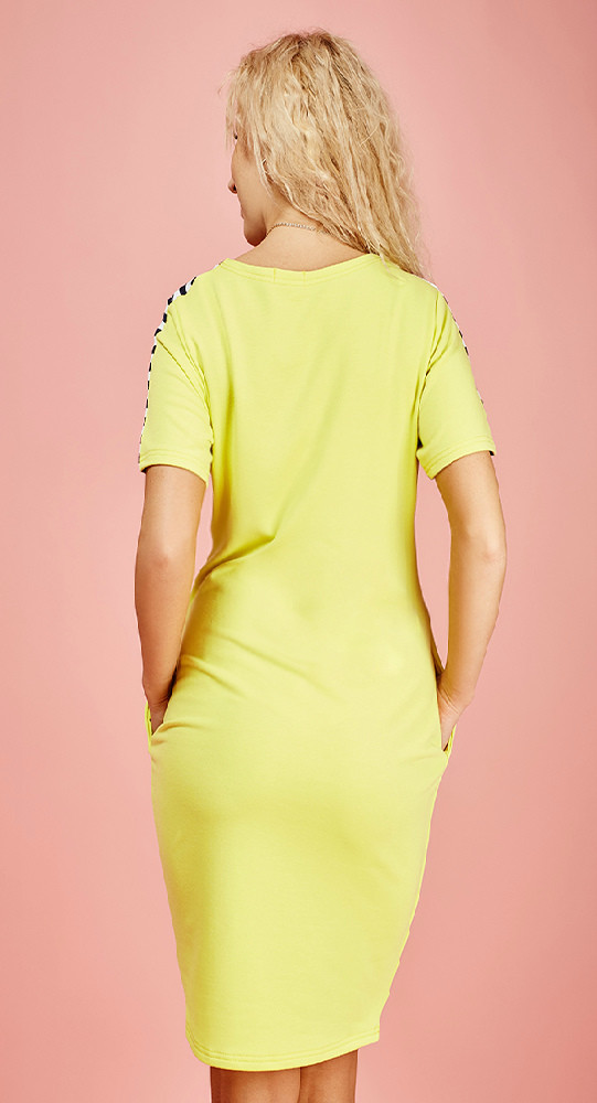 Платье желтое в белую полоску